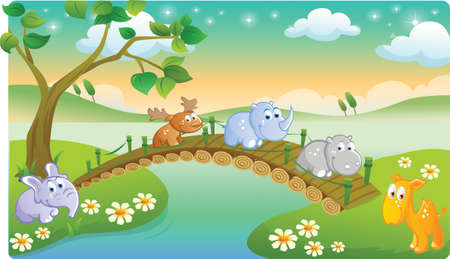 cartoon young animals playing with beautiful scenery Vector