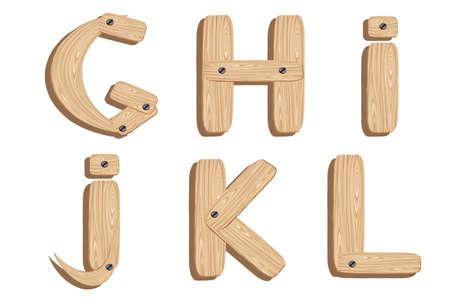 wooden alphabet letters G,H,I,J,K,L Vector