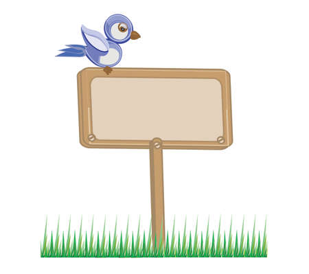 wooden board with grass and bird Vector