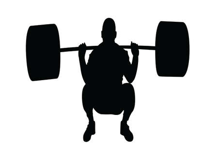 silhouette weightlifter illustration Vector