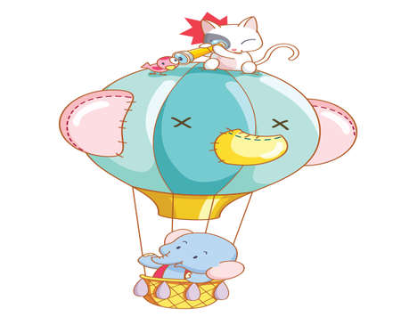 cartoon elephant and the cat was air balloon ride Vector