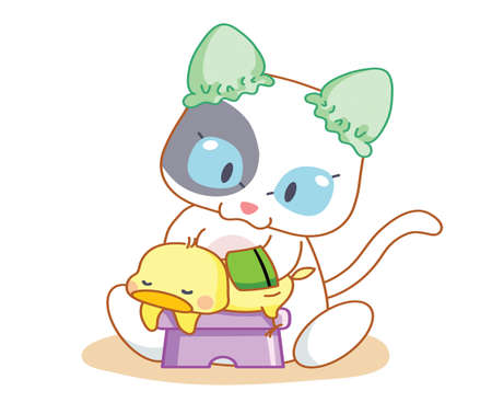 mamma: cartoon funny cats and chicks are playing Illustration