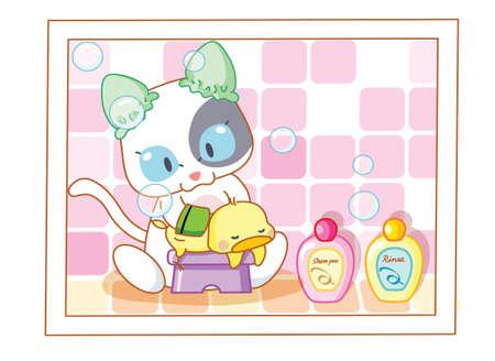 mamma: cute cartoon cat bathing chicks Illustration