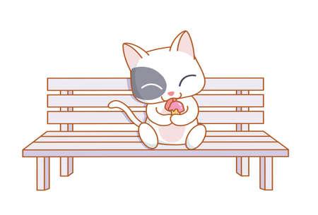 mamma: cute cartoon cat sitting and eating ice cream