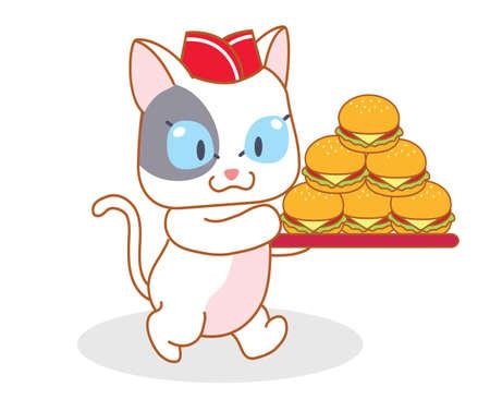 mamma: cute cartoon cat carrying a hamburger Illustration