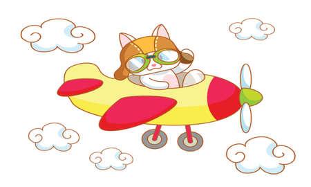 mamma: cute cartoon cat on a plane Illustration