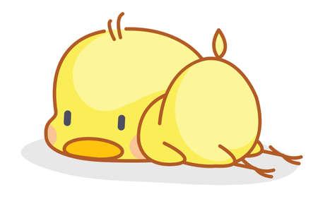 cute cartoon chicks posing sleep  Vector