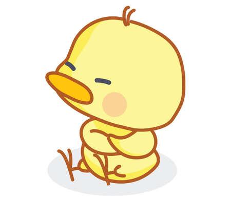 cute cartoon chicks pose sitting  Vector