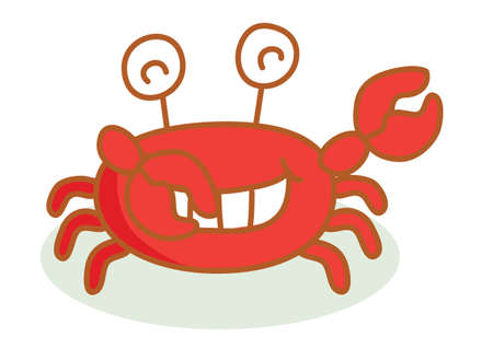 crab cartoon: cute crab cartoon smiling Illustration