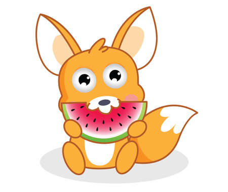 downy: cartoon squirrel is eating watermelon