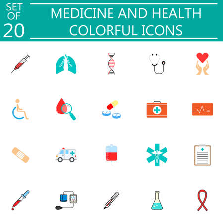 lugs: Medicine and health solid pictograms package, medical symbols collection, vector sketches, illustrations, colorful linear icons isolated on white background.