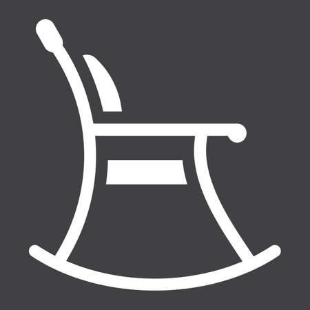 Rocking chair solid icon, Furniture and interior Illustration