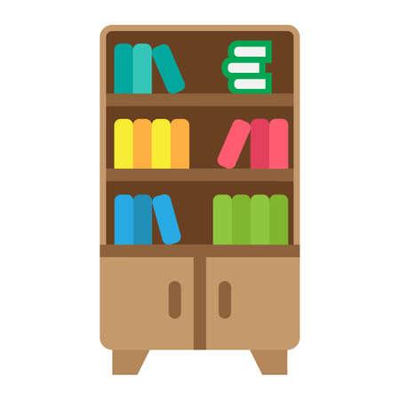 Bookshelf flat icon, Furniture and interior