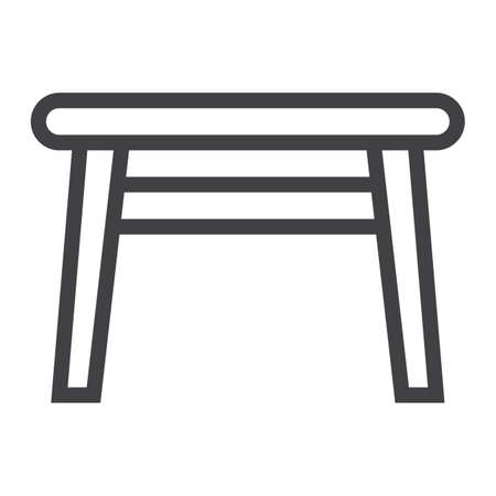kitchen furniture: Table line icon, Furniture and interior element Illustration