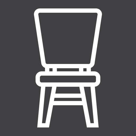 solid: Chair line icon, Furniture and interior Illustration