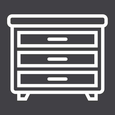 solid: Drawer unit line icon, Furniture and interior Illustration