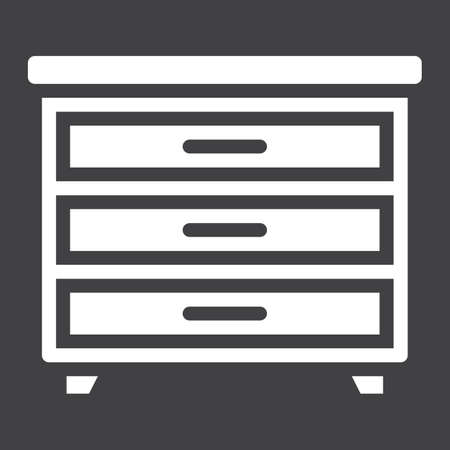 solid: Drawer unit solid icon, Furniture and interior