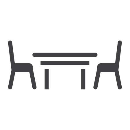Dining table solid icon, Furniture and interior