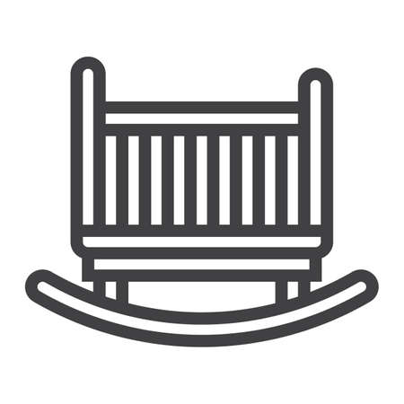 solid: Cradle line icon, Furniture and interior