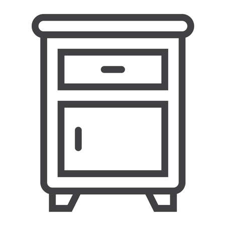 modern house: Nightstand line icon, Furniture and interior Illustration