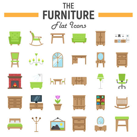 office furniture: Furniture flat icon set, interior sign collection
