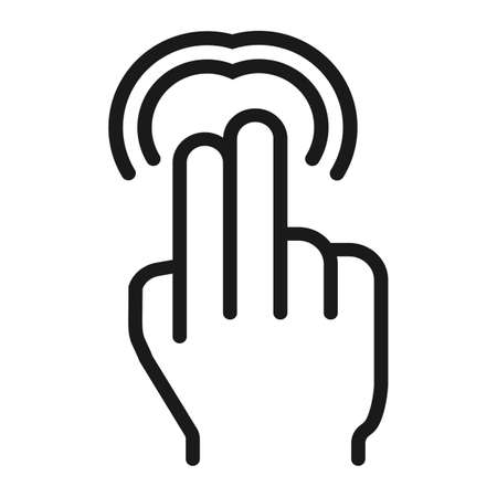 double tap: 2 finger Double tap line icon, touch and gestures