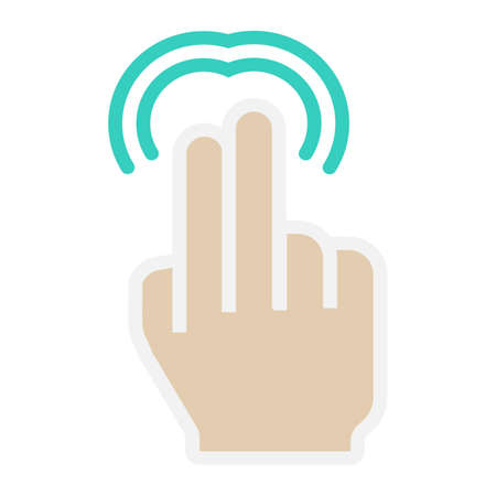 graphical user interface: 2 finger Double tap flat icon, touch and gesture Illustration