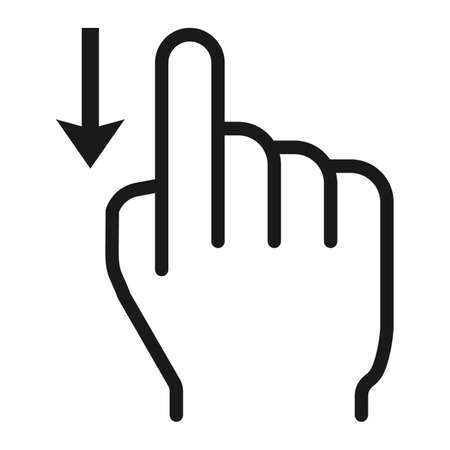 Swipe down line icon, touch and hand gestures