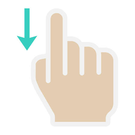 solid: Swipe down flat icon, touch and hand gestures Illustration