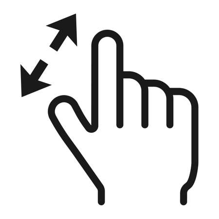 2 finger zoom in line icon, touch and gesture