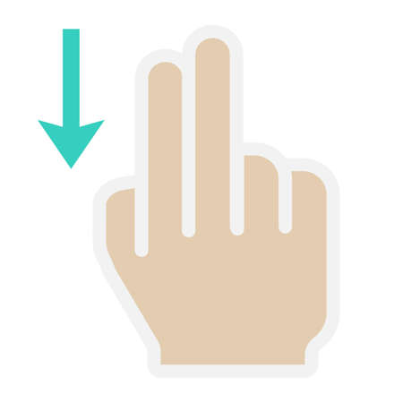 pinch: 2 finger Swipe down flat icon, touch and gesture
