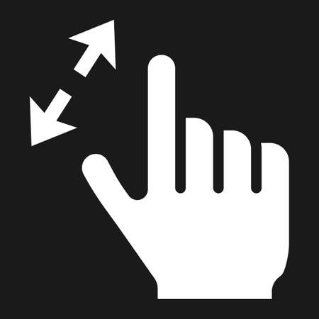 2 finger zoom in solid icon, touch and gesture Illustration