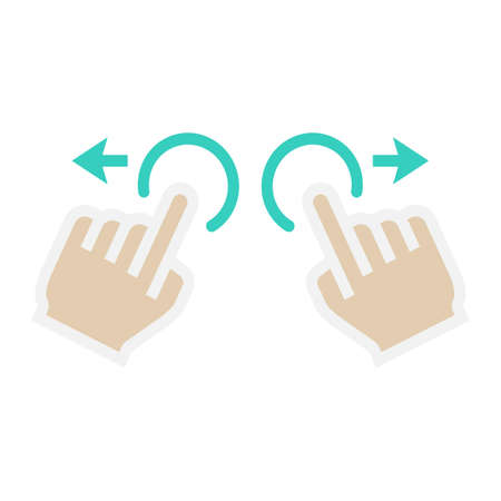 Two hand zoom in flat icon, touch and gesture Illustration