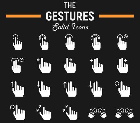 Touch gesture solid icon set, touchscreen and hand