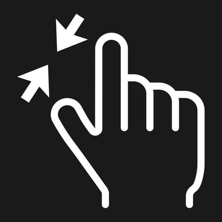 pinch: 2 finger zoom out line icon, touch and gesture