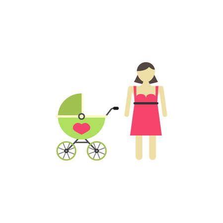 Woman with pram icon Illustration