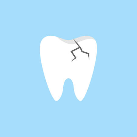 Cracked tooth flat icon.
