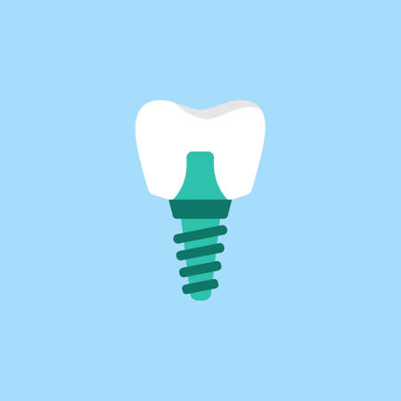 Icona piatta dell'impianto dentale Archivio Fotografico - 76274646