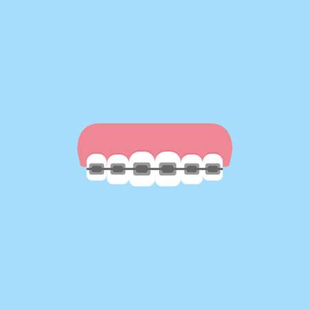 Orthodontic braces flat icon