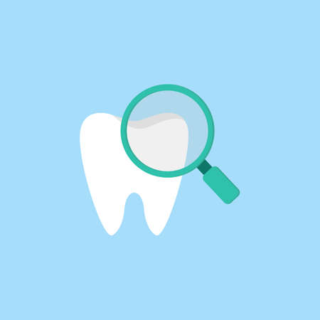 Checking teeth flat icon