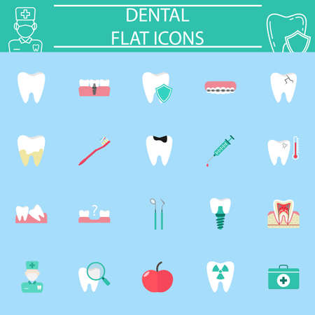 Dental flat pictograms package, stomatology symbols collection, vector sketches,  illustrations, medicine colorful solid icon set isolated on blue background Иллюстрация