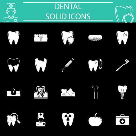 Dental solid icon set