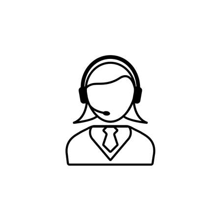 Online consulting line icon Illustration