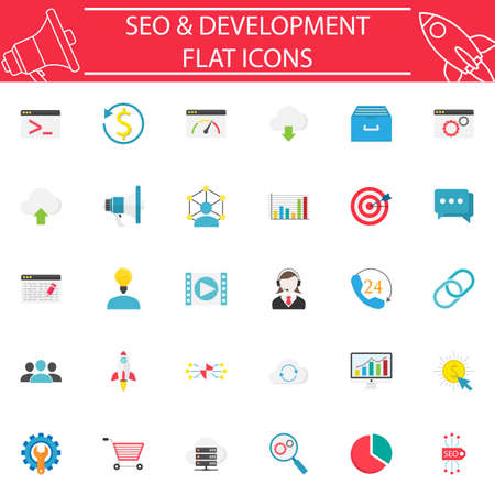 solid: SEO and Development flat icon set Illustration
