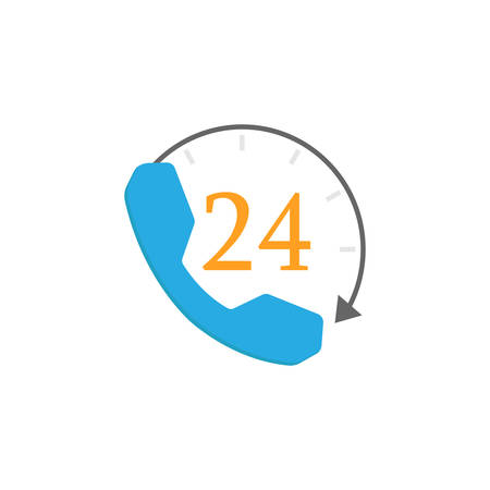 Full time call services flat icon