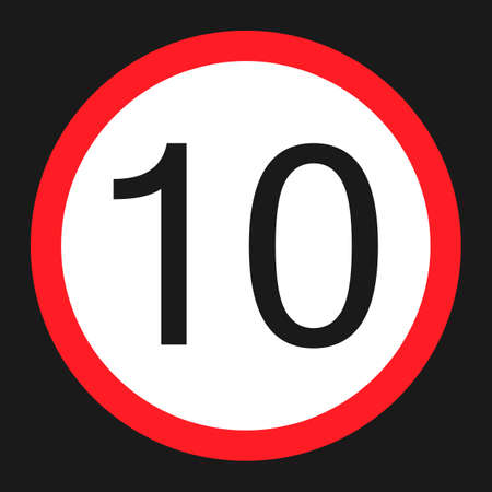 Maximum speed limit 10 flat icon, Traffic and road sign, vector graphics, a solid pattern on a black background, eps 10.