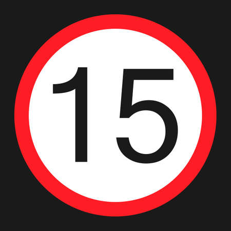 Maximum speed limit 15 flat icon, Traffic and road sign, vector graphics, a solid pattern on a black background, eps 10. Illustration