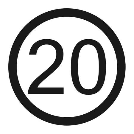 Maximum speed limit 20 line icon, Traffic and road sign, vector graphics, a solid pattern on a white background, eps 10.
