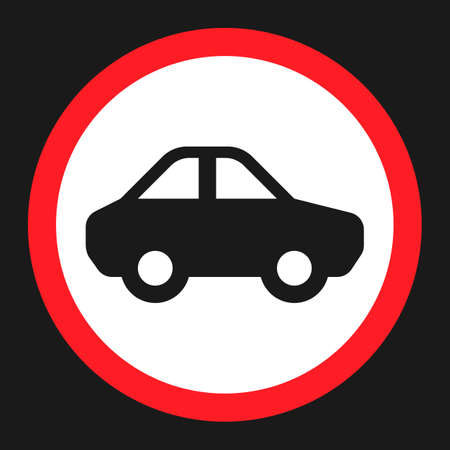 No motor and car flat icon, Traffic and road sign, vector graphics, a solid pattern on a black background, eps 10.