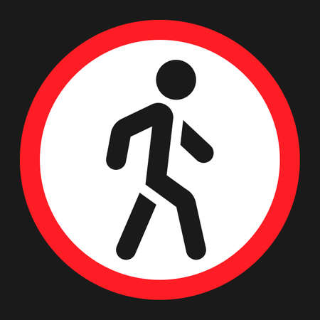 general warning: No Pedestrians flat icon, Traffic and road sign, vector graphics, a solid pattern on a black background, eps 10. Illustration
